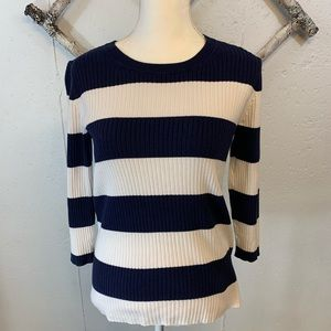 Banana Republic Striped Sweater Navy and White